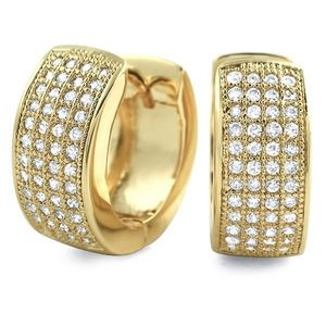 AAA Lab Diamond Gold Hoop Earrings